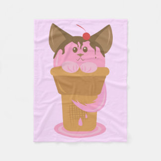 Strawberry Ice Cream Cat Fleece Blanket