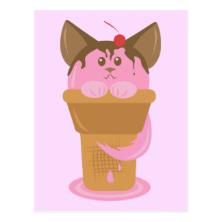 Strawberry Ice Cream Cat Postcard