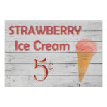 Strawberry Ice Cream Cone Poster