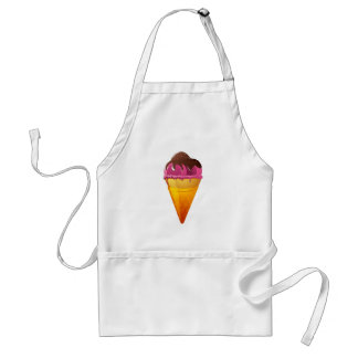 Strawberry Ice Cream Cone with Chocolate Sauce Adult Apron