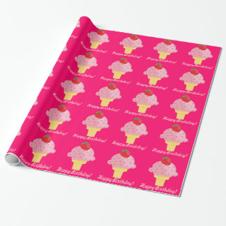 Strawberry Ice Cream Happy Birthday Gift Wrap