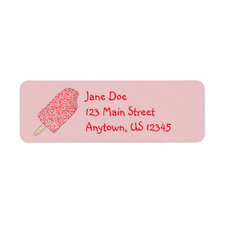 Strawberry Ice Cream Popsicles Address Labels