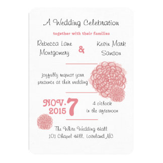 Strawberry Ice Hydrangea Wedding Invitations