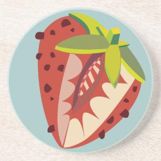Strawberry illustration coaster