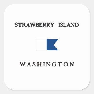 Strawberry Island Washington Alpha Dive Flag Square Sticker