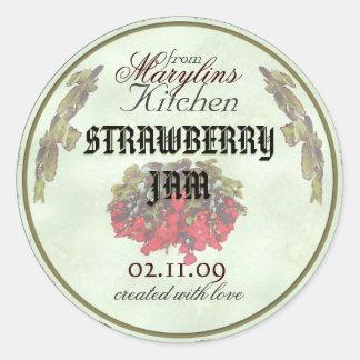 Strawberry Jam canning jar labels1 Round Sticker