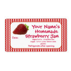 Strawberry Jam Canning Jar Labels Personalised