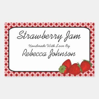 Strawberry Jam Custom Text Jar Label Rectangular Sticker