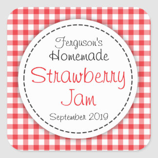 Strawberry jam jar food label