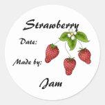 Strawberry Jam Jar Label (Customise) Round Sticker