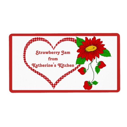 Strawberry Jam or Jelly Gift - Small Jar Shipping Label