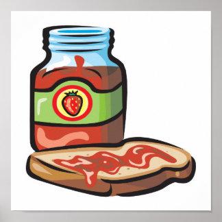 strawberry jelly jam and toast print