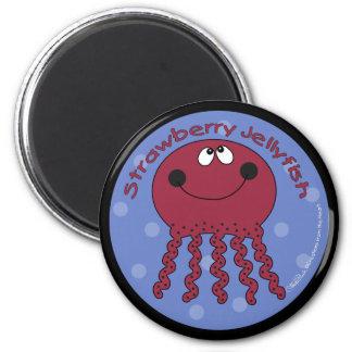 Strawberry Jellyfish 6 Cm Round Magnet