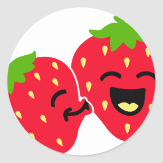 Strawberry Kiss Round Sticker