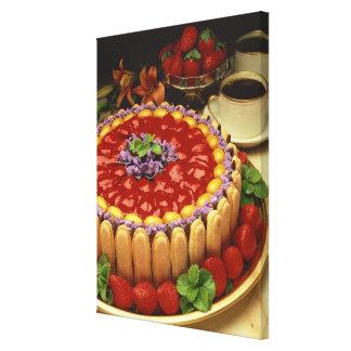 Strawberry lady finger cake canvas print
