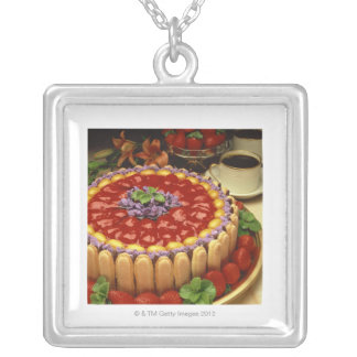 Strawberry lady finger cake silver plated necklace