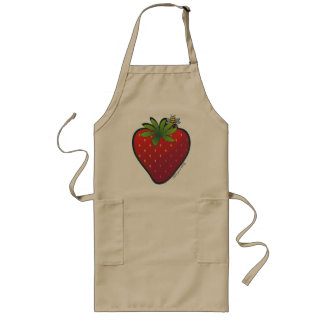 Strawberry Long Apron Khaki
