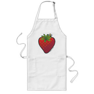 Strawberry Long Apron White