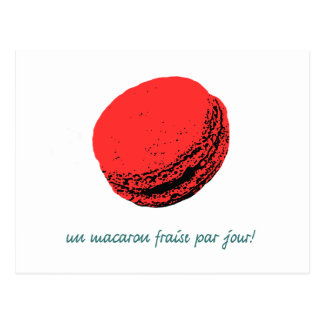 strawberry macaroon postcard