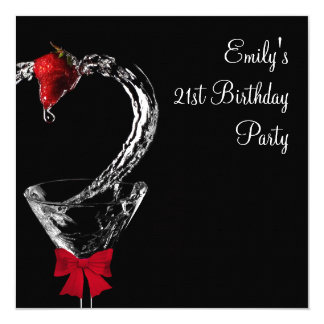 Strawberry Martini Cocktail Birthday Party Card