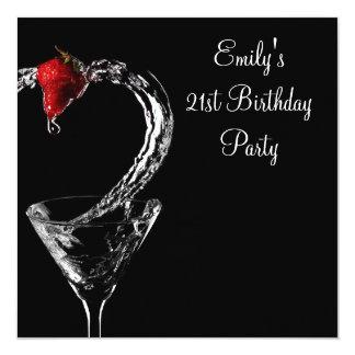 Strawberry Martini Cocktail Birthday Party Invitations