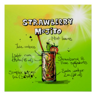 Strawberry Mojito Cocktail Poster