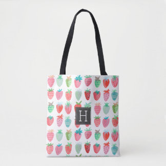 Strawberry Monogram Pattern | Tote bag