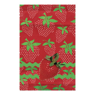 Strawberry on Green Ric Rac, Strawberries Stationery Design