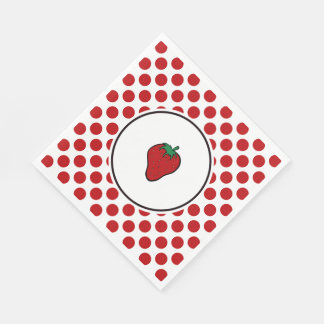Strawberry on Red Dots Disposable Serviettes