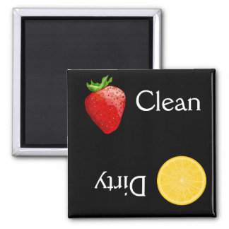 Strawberry Orange Fruit Clean Dirty Dishwasher Square Magnet