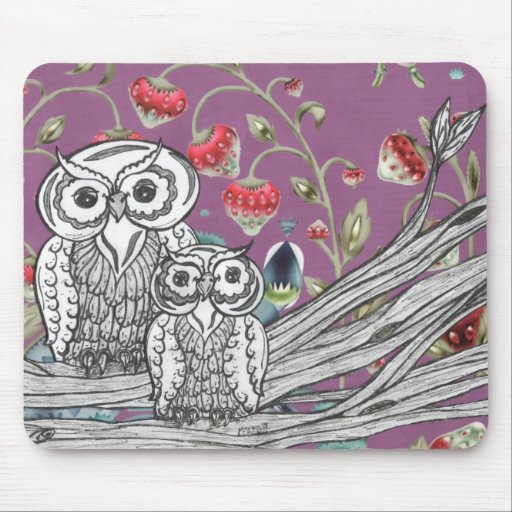 Strawberry Owls Mouse Pad