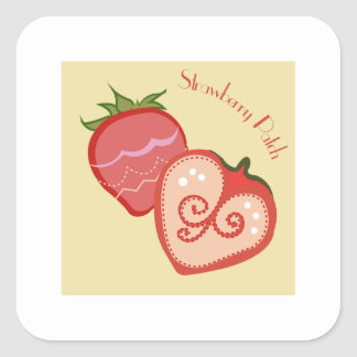Strawberry Patch Square Sticker