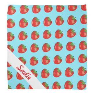 Strawberry Pattern On Blue With Custom Name Bandannas