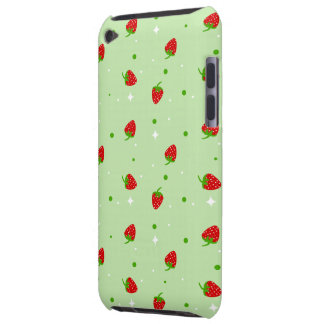 Strawberry Pattern on green background Barely There iPod Case