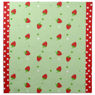 Strawberry Pattern on Green background Napkin