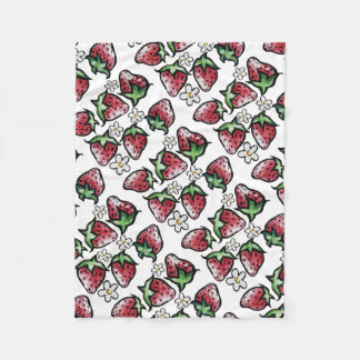 Strawberry pattern strawberries forever fleece blanket