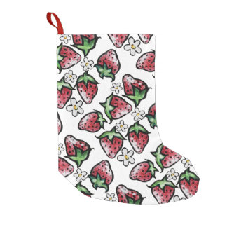 Strawberry pattern strawberries forever small christmas stocking