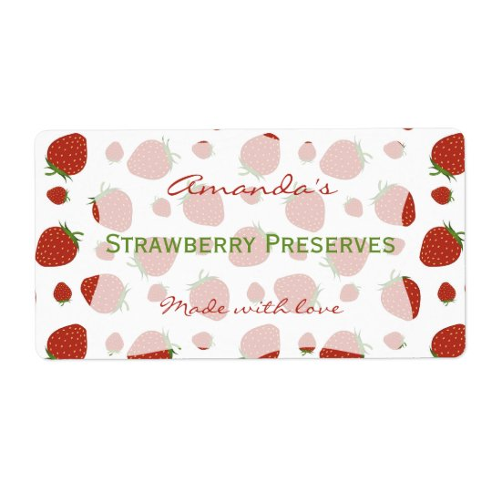 Strawberry Personalised Canning Label Shipping Label