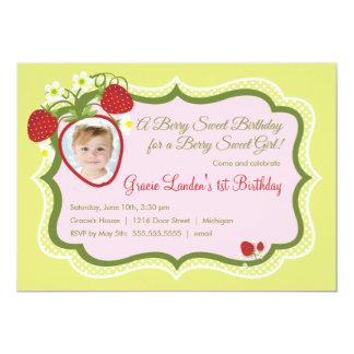 Strawberry |  Photo Birthday Invitation