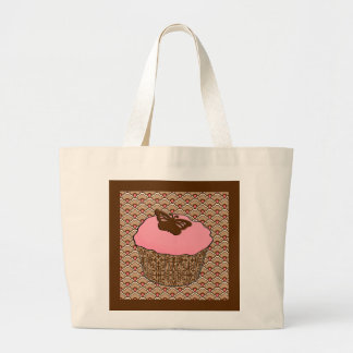 Strawberry Pink Frosted Cupcake Large Tote Bag