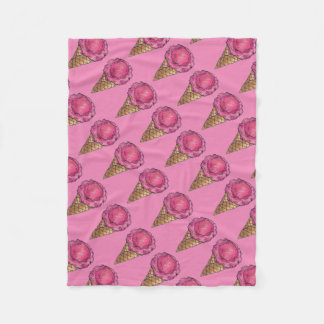 Strawberry Pink Ice Cream Cone Foodie Blanket