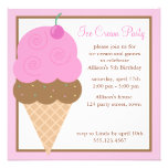 Strawberry Pink Ice Cream Cone Invitation