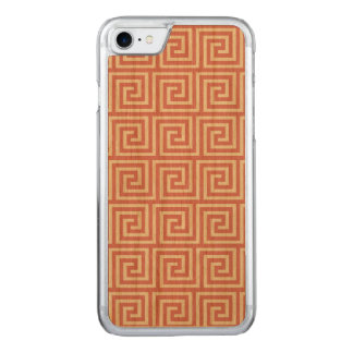 Strawberry Pink White Greek Key Pattern Carved iPhone 7 Case