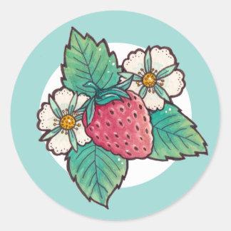 Strawberry Plant Round Sticker