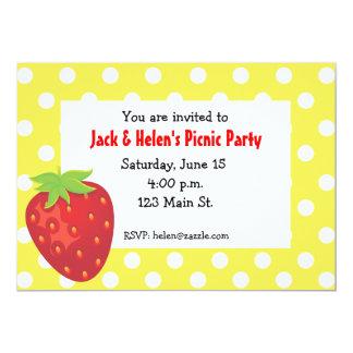 Strawberry Polka Dot Invitation
