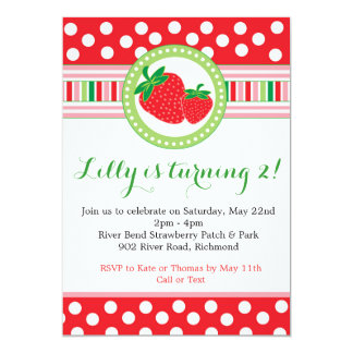 Strawberry Polka Dot Party Invitation