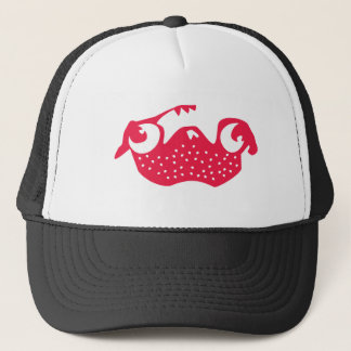 Strawberry pug trucker hat