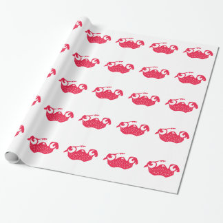 Strawberry pug wrapping paper