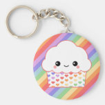 Strawberry Rainbow Cupcake Basic Round Button Key Ring