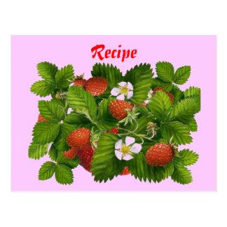 Strawberry Recipe Card Postcard